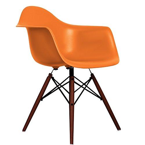 New Orange Eames Style DAW chair with walnut legs