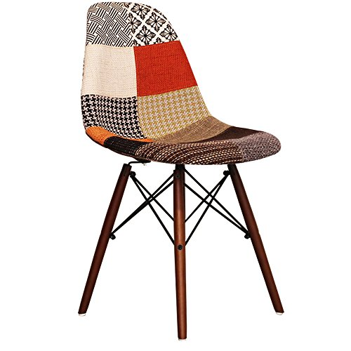 Patchwork Eames Style DSW chair with walnut legs