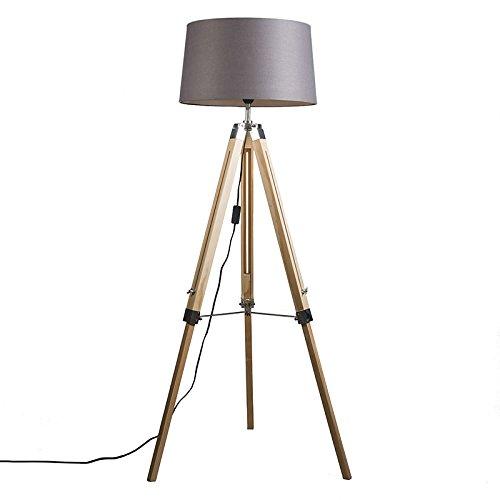 QAZQA Design,Industrie,Retro Stehleuchte Tripod natur mit Schirm 45cm leinen braun-grau Holz,Metall,Textil Länglich / LED geeignet E27 Max. 1 x 40 Watt