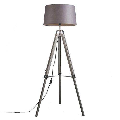 QAZQA Design,Industrie,Retro Stehleuchte Tripod vintage mit Schirm 45cm leinen braun-grau Holz,Metall,Textil Länglich / LED geeignet E27 Max. 1 x 40 Watt