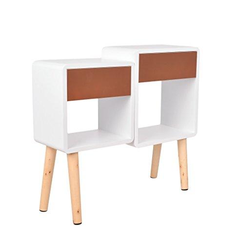 Regal Design Retro 70er Cube Wohnzimmer Standregal in Weiß mit zwei Schubladen in Braun und Holzfüßen