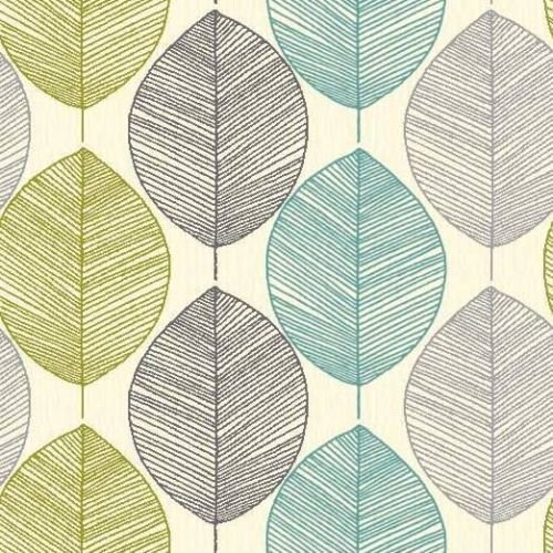 Retro Leaf Teal and Green Wallpaper - Arthouse