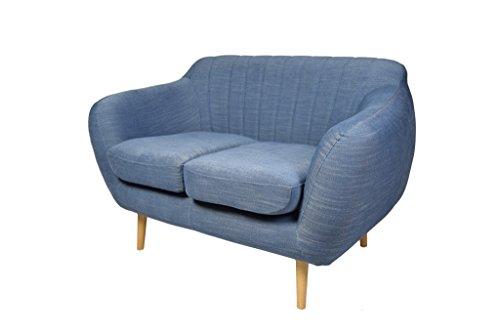 Retro Sofa Azure 2-Sitzer Stoff Denimblau
