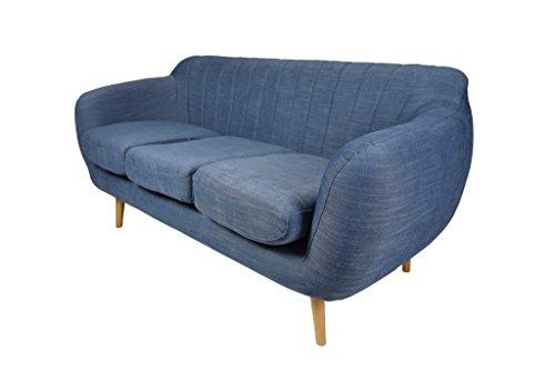 Retro Sofa Azure 3-Sitzer Stoff Denimblau