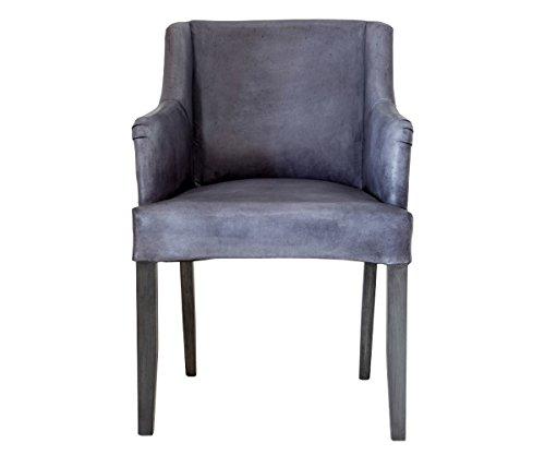 Retro Stuhl aus weichem Büffelleder Grau