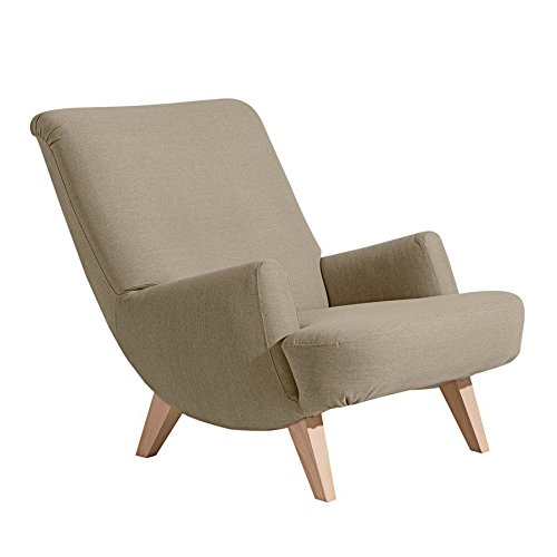 Retrosessel ' Brantford ' von Max Winzer - Toller Vintage Sessel im Retro-Look in Leinenoptik der 50er Jahre aus 11 Farben wählbar, Farbe:Sahara