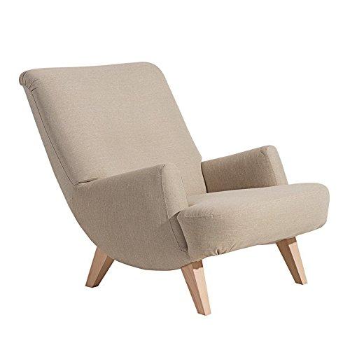 Retrosessel ' Brantford ' von Max Winzer - Toller Vintage Sessel im Retro-Look in Leinenoptik der 50er Jahre aus 11 Farben wählbar, Farbe:Sand