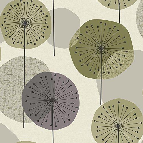 Revival 5658 Vlies-Tapete Pusteblumen Retro-Stil violett grün altweiß IKEA Katalog 2014 / S. 148