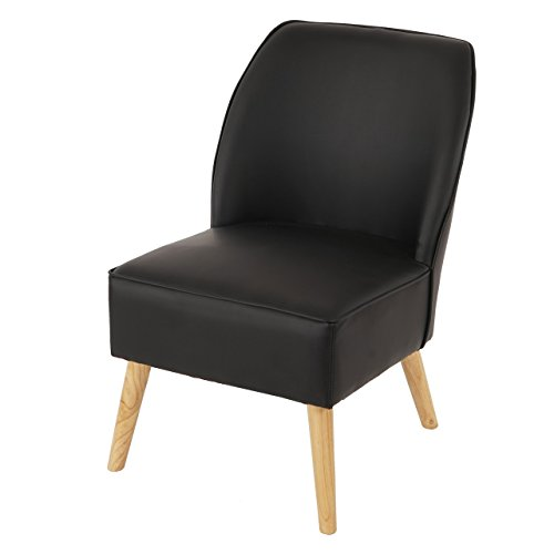 Sessel Malmö T312, Loungesessel Polstersessel, Retro 50er Jahre Design ~ schwarz, Leder
