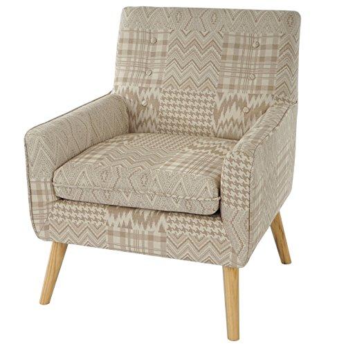 Sessel Malmö T370, Loungesessel Polstersessel, Retro 50er Jahre Design, Textil ~ beige/braun