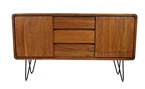 Sideboard Authentic Retro Easy Massivholz Sheesham Haarnadelfüße Mid Century