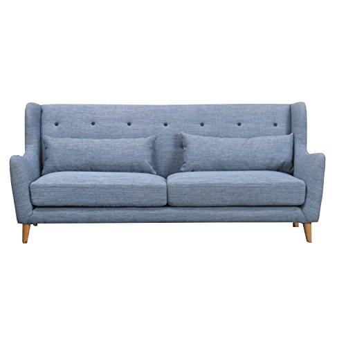 Sofa RETRO 3-Sitzer Couch Wohnlandschaft Couchgarnitur hellblau NEU