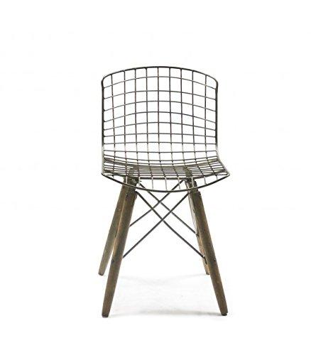 Chaise Design Fil de Fer et Pieds en Bois