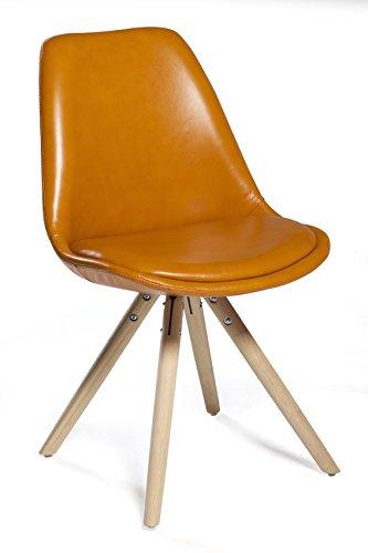 Stuhl Orso (2er-Set) - Leder Orange - Eiche Natur by DanForm