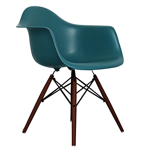 Teal Eames Style DAW chair with walnut legs