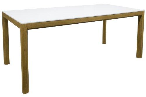 Tenzo 2281-001 Patch - Designer Esstisch weiß / eiche, Tischplatte MDF lackiert matt, Untergestell Eiche massiv, 75 x 190 x 95 cm