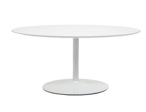 Tenzo 3219-001 TEQUILA - Designer Esstisch ellipseförmig, MDF lackiert, matt, Untergestell Metall, lackiert, 74.50 x 160 x 110 cm, weiß