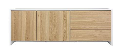 Tenzo 5935-454 Profil Designer Sideboard, 80 x 220 x 47 cm, weiß / eiche furniert
