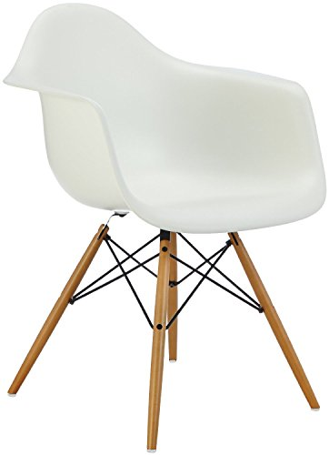 Vitra 4401120011 Stuhl DAW Eames Pl.Armchair Gestell Ahorn-gelbl.Schale, weiß