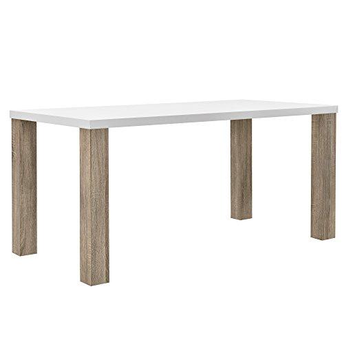 [en.casa] Esstisch weiß Eiche-Optik 160x85 Tisch Esszimmer Küchentisch rechteckig Retro