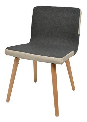ts-ideen Barstuhl Design Polsterstuhl Holzstuhl Lounge Stuhl anthrazit grau Esszimmerstuhl Küchenstuhl Stoffbezug