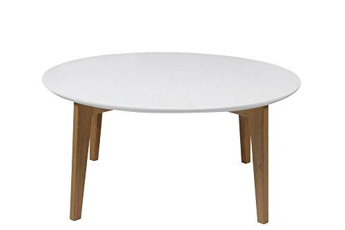 AC Design Furniture 0000049337 Couchtish Ricky, Durchmesser 90, Höhe 42 cm, Tischplatte aus Holz lackiert weiß, Gestell aus Massivholz Eiche, unbehandelt