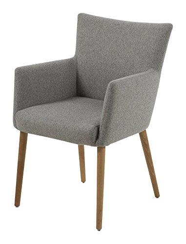 AC Design Furniture 0000055606 Armstuhl Ulrik, 57 x 61 x 87 cm, Sitz, Rücken Stoff, Gestell aus Holz Eiche, Ölbehandelt, hellgrau