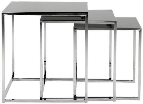 AC Design Furniture 0426862149 3- Satz Tisch Gurli, Schwarzglas 8 mm, Gestell Metall verchromt