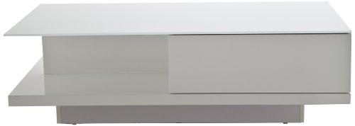 AC Design Furniture 31913 Couchtisch Bjarne, kristallweiße Glasplatte, 1 Schublade, ca. 120 x 36 x 60 cm, weiß hochglanz