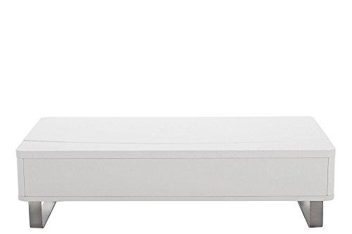 AC Design Furniture 37351 Couchtisch Bent, weiß hochglanz mit Liftfunktion, Gestell Metall alufarbig, ca. 120 x 32 x 60 cm
