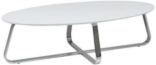 AC Design Furniture 47531 Couchtisch Viggo, weiß matt, Gestell Metall verchromt, ca. 120 x 35 x 60 cm