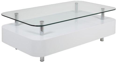 AC Design Furniture 47985 Couchtisch Yall, Klarglasplatte 10 mm, ca. 117 x 40 x 65 cm, weiß hochglanz
