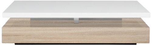 AC Design Furniture 48922 Couchtisch Jonte, Sonoma Eiche Nachbildung, ca. 117 x 29 x 58 cm, weiß hochglanz