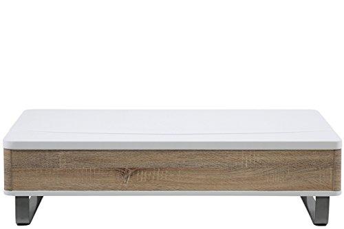 AC Design Furniture 49302 Couchtisch Bent, weiß hochglanz, Sonoma Eiche Nachbildung mit Liftfunktion, Gestell Metall alufarbig, ca. 120 x 32 x 60 cm