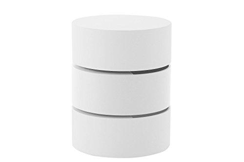 AC Design Furniture 55773 Beistelltischtisch Emilie weiß matt lackiert mit Stauraum, Mittelteil herausdrehbar, ca. 40 x 51 cm
