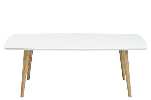 AC Design Furniture Couchtisch aus Holz Tischplatte weiß Hochglanz Beine natur Romin