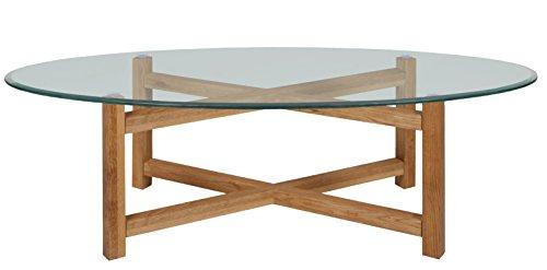 AC Design Furniture Couchtisch oval mit Glasplatte Gestell aus Massivholz Eiche Dolion