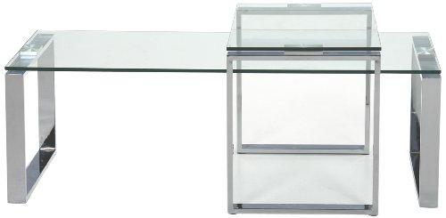 AC Design Furniture H000009514 Couchtisch Set Jannis, Klarglasplatte 10 mm, ca. 115 x 45 x 69 cm, Gestell Metall verchromt