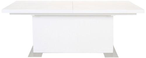 AC Design Furniture H000010904 Esstisch Jonas, inklusive 1 Einlegeplatte innenliegend, ca. 180(230) x 75 x 90 cm, weiß Hochglanz