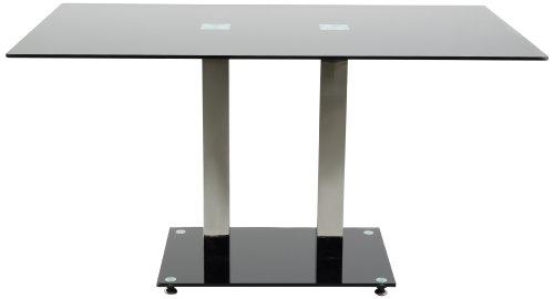 AC Design Furniture H000012517 Esstisch Hendrik, Glasplatte schwarz, Gestell Metall rostfrei, Fuß Schwarzglas, ca. 140 x 76 x 80 cm
