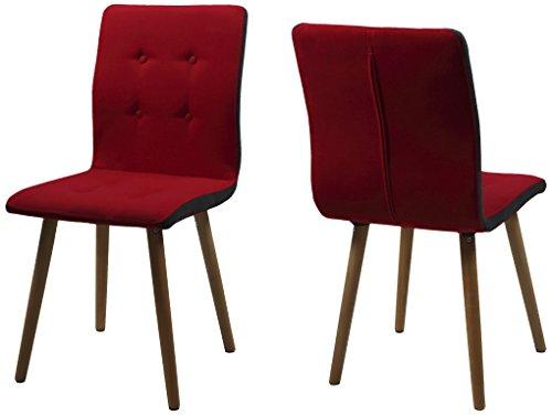 AC Design Furniture H000014092 Esszimmerstuhl 2-er Set Charlotte, Sitz/Rücken Seiten dunkelgrau, Knöpfen und Stoff, rot