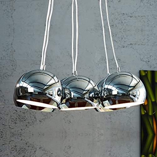 CAGÜ - 6er SET DESIGN LOUNGE HÄNGELAMPE HÄNGELEUCHTE [PERLA] CHROM a 14cm Ø