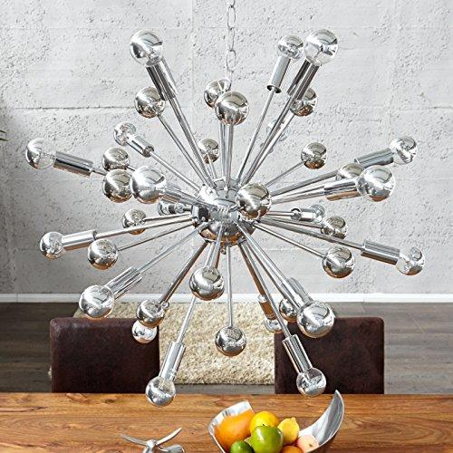 CAGÜ - XL DESIGN HÄNGELAMPE [GALAXIS] SPIEGELVERCHROMT mit 40 ARMEN 65cm Ø