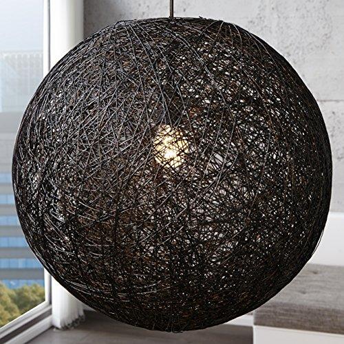 CAGÜ - XL DESIGN LOUNGE HÄNGELAMPE HÄNGELEUCHTE [KOKON] SCHWARZ aus MANILAHANF handgefertigt 60cm Ø