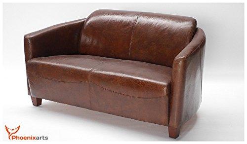 Echtleder Vintage 2-sitzer Sofa Design Ledersofa Lounge Leder Couch 460