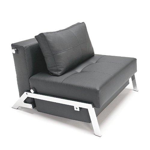 Innovation Cubed 90 Sessel / Schlafsessel, LT schwarz Gestell chrom Kunstleder