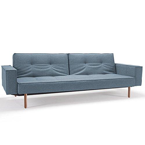 Innovation Schlafsofa mit Armlehnen und hellen Holzbeinen Splitback Stem Light Wood Textil hellblau