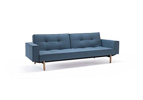 Innovation - Splitback Schlafsofa mit Armlehne - blau-grau - Mixed Dance - Ulme dunkel, konisch - Per Weiss - Design - Sofa