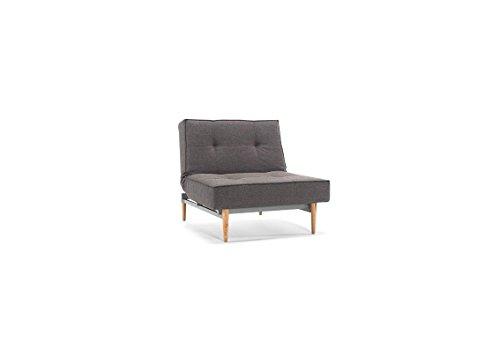 Innovation - Splitback Sessel - dunkelgrau - Flashtex - Ulme hell, konisch - Per Weiss - Design - Sessel