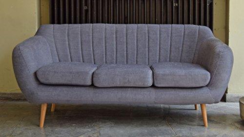 Retro Sofa Azure 3-Sitzer Stoff Blaugrau